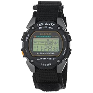 Armitron Men's 406623 Chronograph Round Gray and Black Nylon Strap Digital Sport Watch
