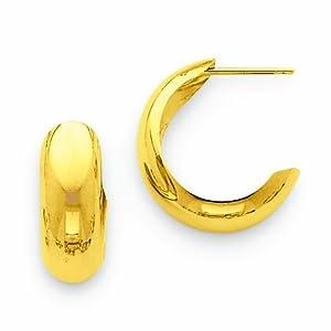 14k Polished 6.5mm J-Hoop Earrings