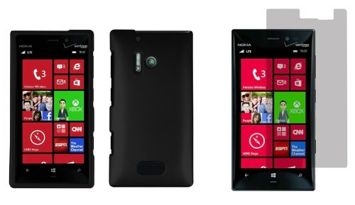 Nokia Lumia 928 - Premium Accessory Kit - Black Hard Shell Case + Atom Led Keychain Light + Screen Protector