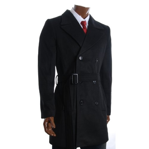 FLATSEVEN Mens Winter Double Breasted Pea Coat Long Jacket (CT122) Black, 2XL