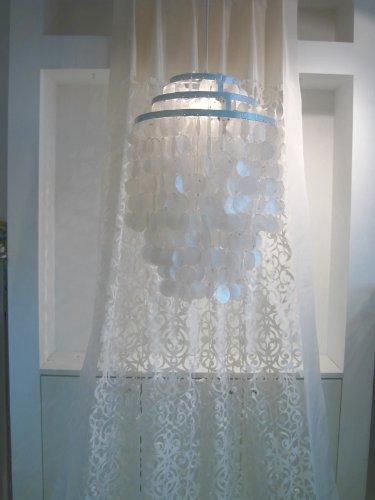 Capiz Deckenleuchte Muschellampe Leuchte rund - 60 cm, weißer 3-stufiger Kranz