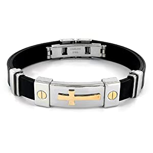 Stainless Steel and Black Rubber Bracelet With Gold Plated Cross