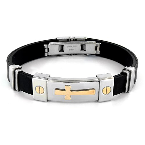 Stainless Steel and Black Rubber Bracelet With