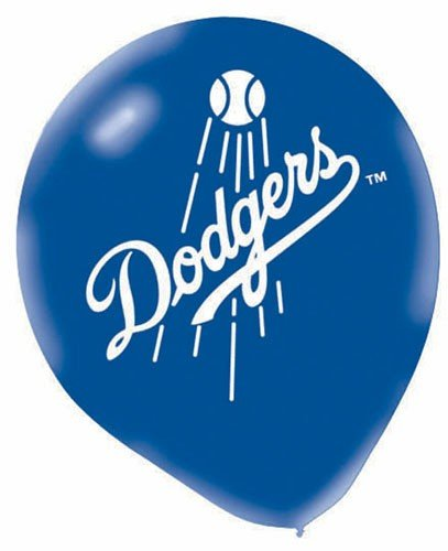 "Amscan Los Angeles Dodgers Major League Baseball Printed Latex Party Balloons, 12"", Blue/Red"