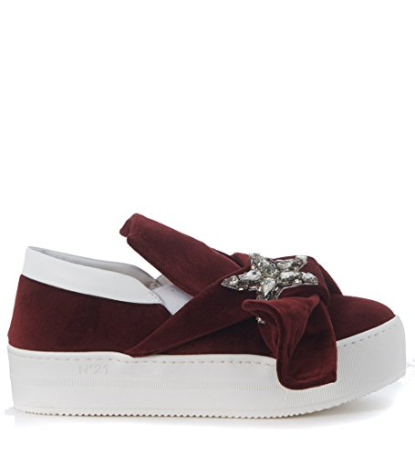 alessandro-dellacqua-n21-womens-slip-on-n21-in-velluto-rosso-bordeaux-con-stella-38it-8us-red