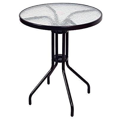 Bistrotisch mit Glasplatte und 2x Bistrostuhl Stapelstuhl Poly Rattan 3er Set Bistroset von Nexos Trading - Gartenmöbel von Du und Dein Garten