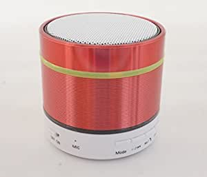 Mini Lightweight Stereo Sound Bluetooth Speakers with Colorful Led Light Rechargeable Battery Build in FM Radio Hand Free Microphone for Car Outdoor (Red)