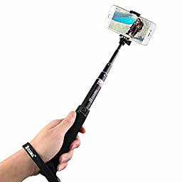 Coolreall Extendable Selfie Stick Monopod with Adjustable Clamp - Black (Build-in Bluetooth Shutter)