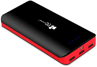 EC Technology® 2nd Gen Deluxe 22400mAh Ultra High Capacity 3 USB Output External Battery With 3-modes LED Flashlight Portable Power Bank Charger For iPhone 6 Plus 5S 5C 5 4S 4, iPad Air, iPad mini, Galaxy S6 S5 S4 S3, Note 4 3, Nexus, HTC One, Most other Phones and Tablets - Black & Red