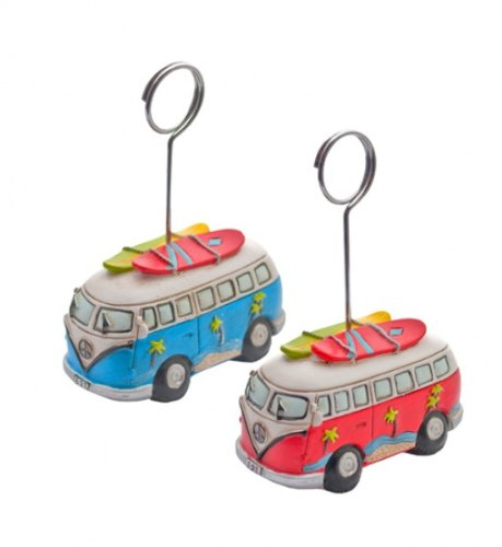 - Vw Campervan & Surfboard Photo Clip / Wedding Place Holder - By Giverny Gifts
