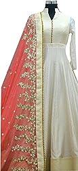 Akshar creation's bhagalpuri white semi-stitched dress material(s-1_white and orange suit)