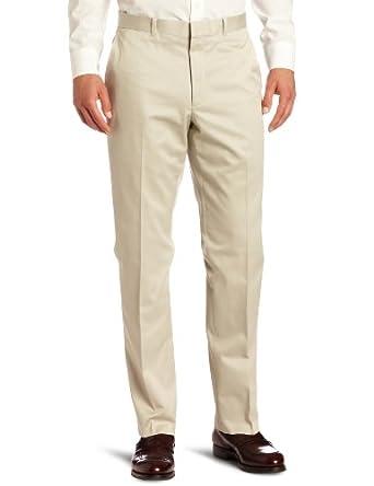 Perry Ellis Men's Premium Twill No Iron Flat Front Modern Fit Pant, Alabaster,  36x32