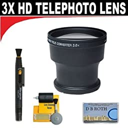 3x Digital Telephoto Professional Series Lens + 5 Pc Cleaning Kit + DB ROTH Micro Fiber Cloth For The Sony HVR-HD1000U, DCR-TRV900, VX2100, DSR-PD150, PD170 Mini Dv Camcorders