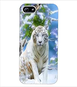 ColourCraft White Tiger Design Back Case Cover for APPLE IPHONE 5S
