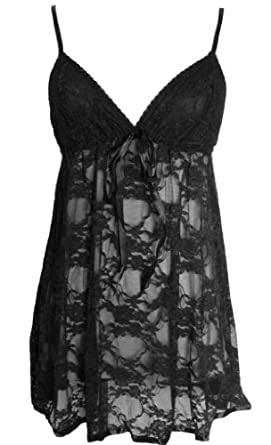 Alivila.Y Fashion Sexy Lace Lingerie Sleepwear Sleep Dress Set With G-String 402-Black-One Size Fits Size 2 to 12