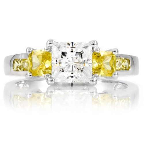 Staci's Promise Ring - Canary & Clear Princess Cut CZ - Final Sale