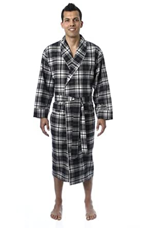 448a267ae9 Noble Mount Mens Premium 100% Cotton Flannel Robe - Introductory Price