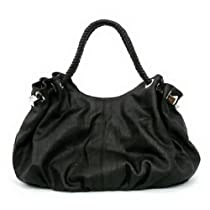 Oversized Satchel/Handbag with Braided handles - Black