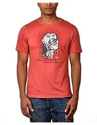 Kuroki Be Myself - Mens Coral Colour Round Neck Tshirts