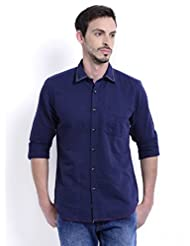 Sting Blue Solid Slim Fit Full Sleeve Cotton Casual Shirt For Men - B00V836UZW
