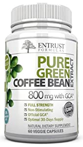 Pure Green Coffee Bean Extract 800mg with GCA® (50% Chlorogenic Acid). Safe Supplement That is Key to 100% Natural Weight Loss Management & Diet. Top Fat Burning Supplement for Men & Women with Premium Quality Ingredients & Best Natural Appetite Suppress