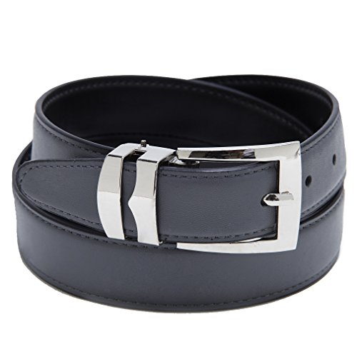 Reversible Belt Bonded Leather Removable Silver-Tone Buckle CHARCOAL / Black 34