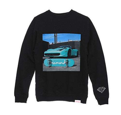Diamond Supply Co. Men's Ferrari Fleece Crewneck Sweatshirt-Black-3XL (Diamond Supply Co Crew Fleece compare prices)