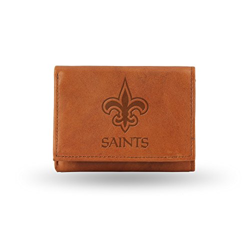 NFL New Orleans Saints Embossed Genuine Leather Trifold Wallet (New Orleans Saints Fan Gear compare prices)