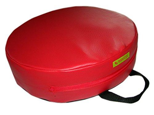 BARFUSS-Kinder-Sitzerhhung-Lederoptik-rund-rot