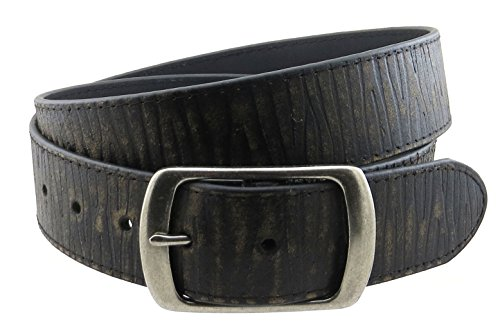 """Vintage Style Leather Belt with Round Buckle 1 5/8"""" Wide (Black-XXL)"""