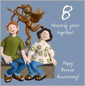 8th Wedding Anniversary Card Amazon Co Uk Kitchen Amp Home