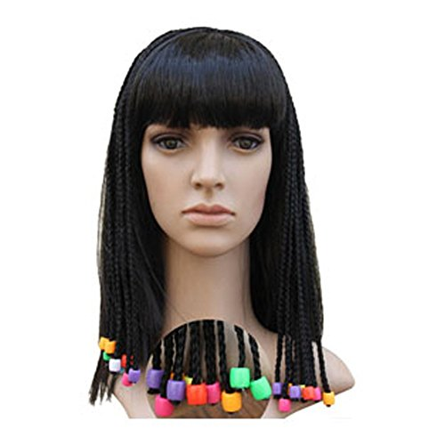 Queen Egypt Pigtails Wig Halloween Masquerade Cosplay Cleopatra Hairpiece