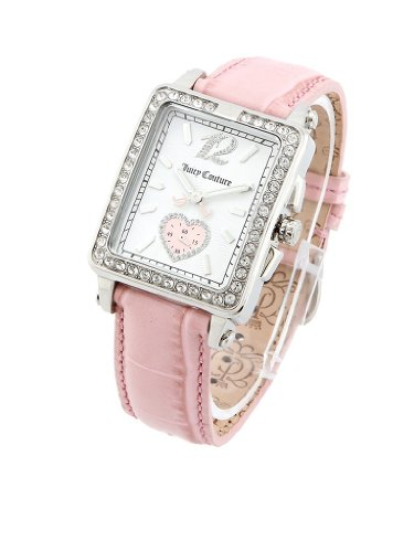 Juicy Couture Women's Watch 1900771 Pedigree Tank Pink Leather Strap Rectangle Case Crystal on Bezel