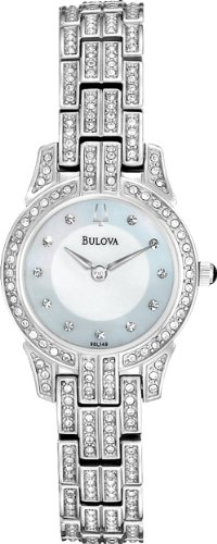 Bulova 96L149 Ladies Crystal White Steel Watch