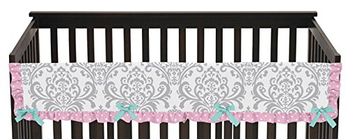 Sweet Jojo Designs Skylar Turquoise Blue, Pink and Gray Damask Long Front Rail Guard Baby Teething Cover Crib Protector Wrap (Bed Rail Replacement Cover compare prices)