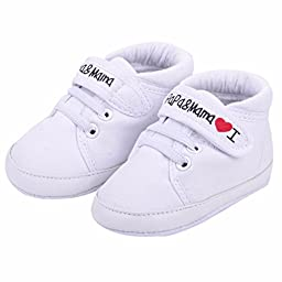 Voberry® Baby Infant Kid Boy Girl Soft Sole Canvas Sneaker Toddler Shoes (6~12 Month, White)