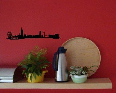Wandtattoo Wien Skyline Wandaufkleber schwarz 30x6,7cm