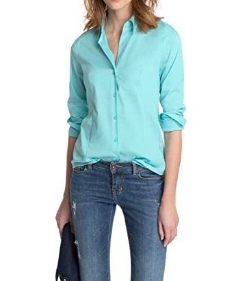 ESPRIT Collection Damen Bluse Regular Fit 014EO1F001, Gr. 38, Grün (315 FOGGY GREEN)