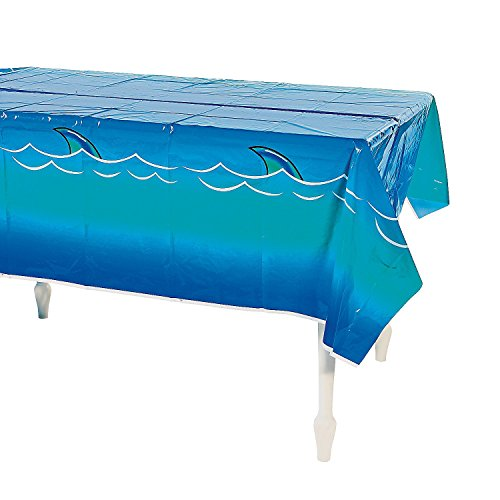 """Awesome Shark Tablecloth/Table Cloth/Plastic 54"""" X 108""""/Pool Party/Jaws/Shark Week/Disposable Decor front-614356"""