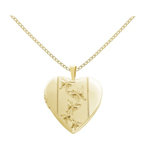 Gold Plated Silver Butterflies Journey Heart Locket Pendant Necklace, 18