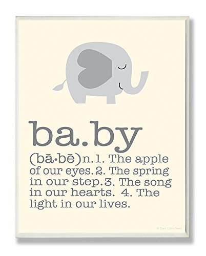 The Kids Room by Stupell Definition of Baby with Grey Elephant Rectangle Wall Plaque