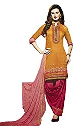 Leranath Fashion House Womens Pure Chanderi Material Orange, Pink Dress (LE3-269SUN-2)