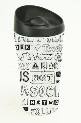 Boston Warehouse Social Network Lid Lock Ceramic Splashless Travel Mug, 14-Ounce, Multicolored