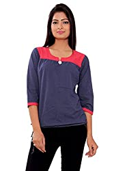 MSONS Women's Blue Dot Printed Tunic in Cotton Fabric