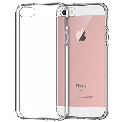 JETech® iPhone 5 5S SE Case Custodia Shock-Absorption Bumper Cover e anti-graffio trasparente per Apple iPhone 5/5S/SE (Cristallino)