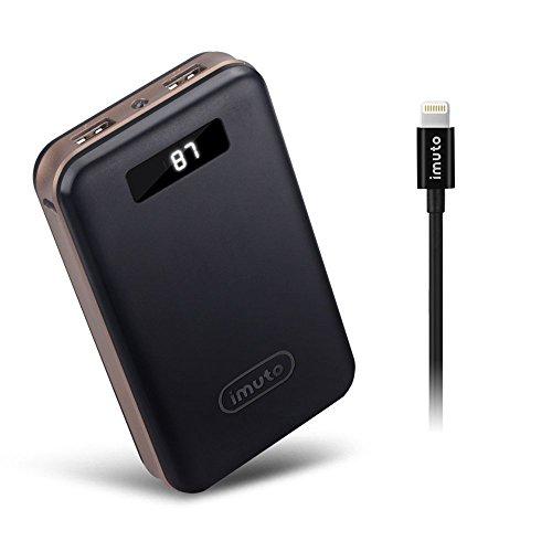 iMuto 超大容量 20000mAh モバイルバッテリー + Apple MFI Lightning ケーブル 急速充電 2USB出力ポート スマートデジタルスクリーン LED ライト搭載 iPhone 6s / 6s Plus / 6 / 6 Plus / 5s / 5c / 5 / iPad / Android / Xperia / Galaxy / 各種スマホ / タブレット/ ゲーム機 / Wi-Fiルータ 等対応 カラー:ブラック