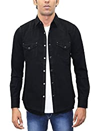 AA' Southbay Men's Jet Black Denim Cotton Long Sleeve Solid Casual Shirt Cum Jacket