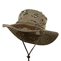 MG Desert Cotton Twill Washed Hunting Outdoor Hat w/ Chin Cord (Camo, Large)