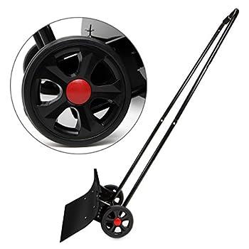 XtremepowerUS Wheeled Snow Shovel Pusher Bi-Directional, Black