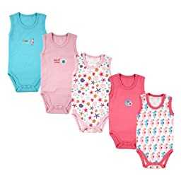 5-Pack Lightweight Sleeveless Bodysuits in Pink, 6-9 months